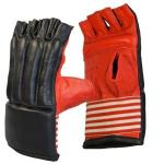 Cimdi bag mitt cowhide open finger, black-red